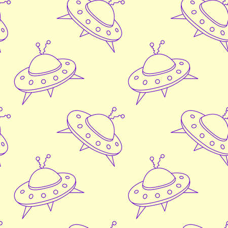 Seamless childish pattern with Flying Saucers, UFO. Vector background and texture for fabric, wrapping, wallpaper, textile, apparel, cover.