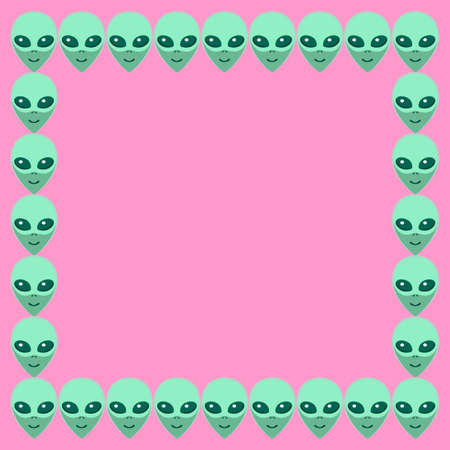 Vector square frame from Aliens green heads. Background, border, decoration on theme of space, ufo, conspiracy theory, Sci-fi,.  イラスト・ベクター素材