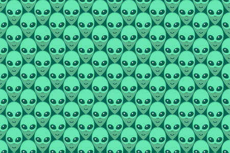 Seamless pattern with Aliens green heads. UFO, Humanoids endless backdrop isolated. Smiling visitors, Martians. Vector illustration, wallpaper on theme of space, conspiracy theory, Sci-fi, fantastic.