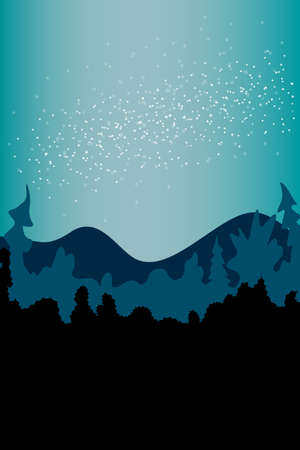 Vector abstract simple landscape backdrop, poster in blue green tones. Stars on the night sky on background of silhouette of forest, trees, mountains. Isolated illustration in flat style.