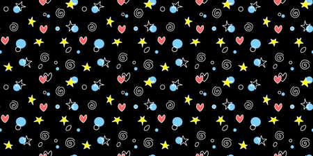 Seamless pattern of simple elements stars hearts points circles rounds rings spirals helixes in doodle style. For background, wrapping paper, birthday, fabric, textile, holiday texture.