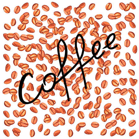 Scattered roasted coffee beans with inscription. Watercolor illustration background for cafe, bistro, restaurant, bars menu card. Food and drink texture design.