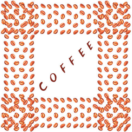 Scattered roasted coffee beans blank square frame. Watercolor hand drawn template illustration for menu or packaging.