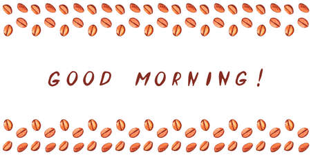 Scattered roasted coffee beans on the top and bottom edges. Good morning - lettering. Watercolor hand drawn illustration, packaging template for cafe, bistro, restaurant, bars menu card.