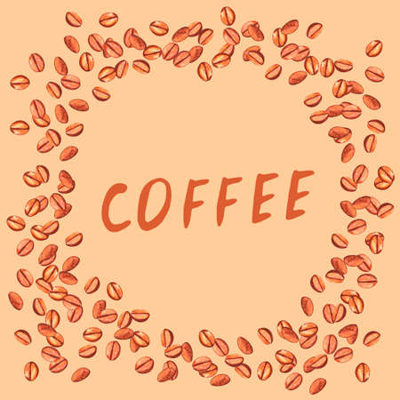 Scattered roasted coffee beans and inscription in frame. Watercolor hand drawn template illustration for menu or packaging. 写真素材