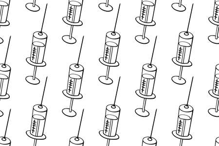 Vector seamless pattern with contour syringes. Hand drawn black outline doodle isolated. Medical background and texture. Equipment, vaccine to treat and protect against virus and vaccination.