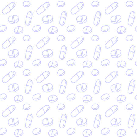 Seamless pattern with medicines, capsules, medicaments, drugs, pills and tablets. Medical pharmacy backgrounds and textures. Vector EPS10 illustration in doodle style.