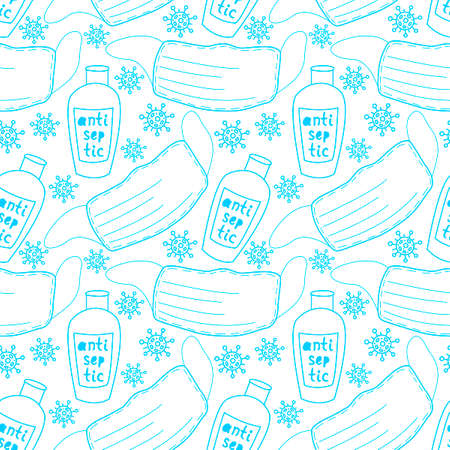 Seamless pattern with medical personal protective equipment against coronavirus. Face mask and antiseptic. Vector outline background and texture in flat doodle style isolated. Illustration