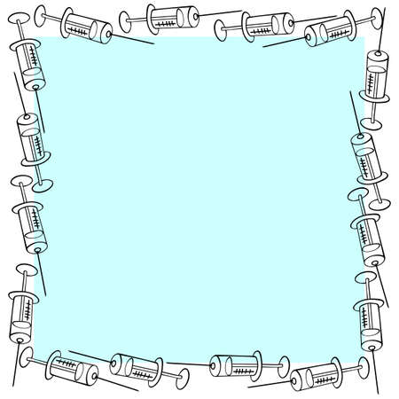 Vector square frame made of contoured syringes. Border, decoration, background on the theme of injections, treatment, vaccination, health and medicine for medical design in the style of doodles.