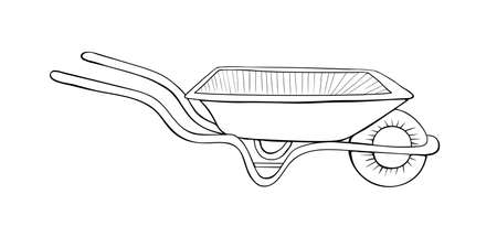 Garden wheelbarrow in hand drawn doodle style isolated on white background. Vector outline illustration. Gardening element. Tools for working on the farm, in the dacha, country site.
