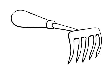 Hoe like small rake. Hand drawn outline vector illustration in doodle style, isolated. Gardening element. Tools for working in the garden, on the farm, in the dacha, country site.