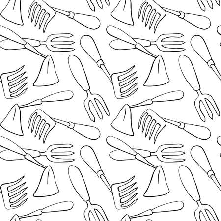 Seamless pattern with hoes. Hand drawn outline vector background and texture in doodle style, isolated. Gardening tools for working in the garden, on the farm, in the dacha, country site.