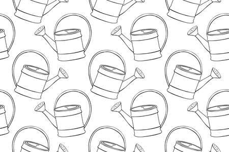Seamless pattern with watering cans. Hand drawn outline vector background and texture in doodle style, isolated. Gardening tools for working in the garden, on the farm, in the dacha, country site.