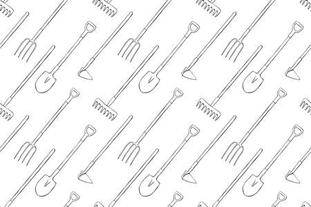 Seamless pattern with garden equipments: shovels, spades, rakes, hoes, pitchforks. Vector backgrounds and textures with tools for working on the farm, in dacha, country site in flat doodle style.