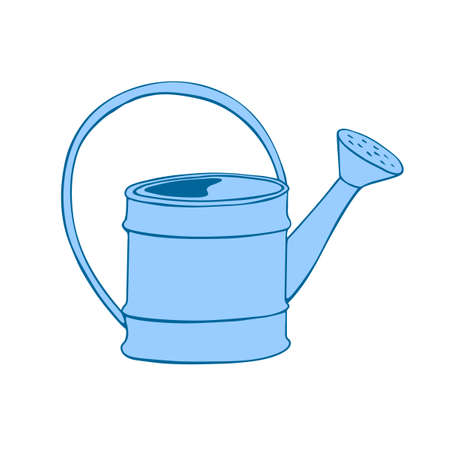Watering can in hand drawn doodle style isolated on white background. Vector outline illustration. Tools for working on the farm, in the dacha, country. Illustration