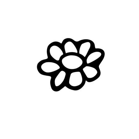 Flower icon. Hand drawn simple black outline vector illustration clip art in doodle style, isolated on white background.