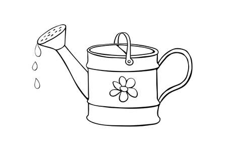 Watering can with flower in hand drawn doodle style isolated on white background. Vector outline illustration. Tools for working on the farm, in the dacha, country. Illustration