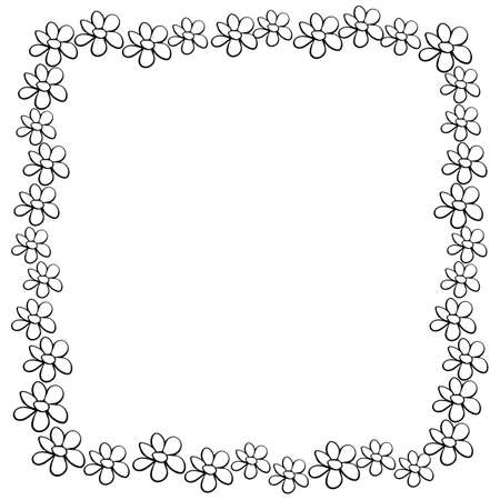 Vector hand drawn frame, border from black outline small flowers in doodle style. Cute simple primitive background, decoration for invitation, greeting card, wedding. Illustration