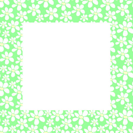 Vector frame, border with small flowers in flat style. Cute simple primitive summer background, decoration. Vector Illustration