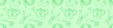 Seamless pattern with outline garden equipments: watering can, rake, hoe, gloves, pruner, hose for irrigation. Vector backgrounds and textures with tools gardening in doodle style.