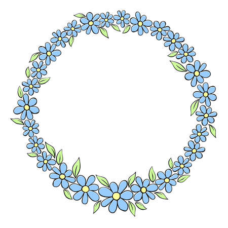 Vector hand drawn circle frame, border, wreath from color small flowers in doodle style. Cute simple primitive background, decoration for invitation, greeting card, wedding.
