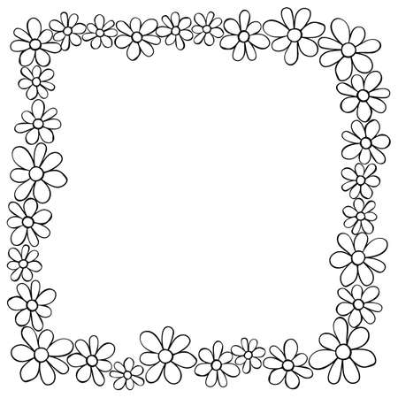 Vector hand drawn frame, border from black outline small flowers in doodle style. Cute simple primitive background, decoration for invitation, greeting card, wedding. Vector Illustration