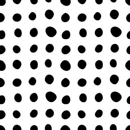 Spotty abstract vector seamless pattern. Random rings, dots, circles, spots, stains, bubbles, stones in row. Design for fabric, funny cute print. Repetitive graphic background and texture.