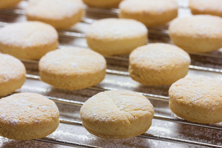 Shortbread. cookie or biscuit on baking tray.
