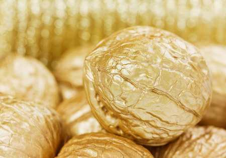 golden walnuts against bokeh background, finance or money concept photo