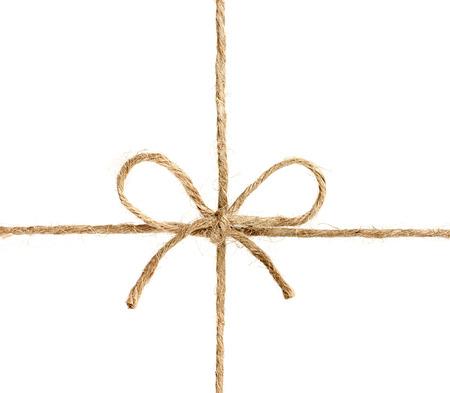 文字列、またはひも、白い背景で隔離蝶結びに結ぶ