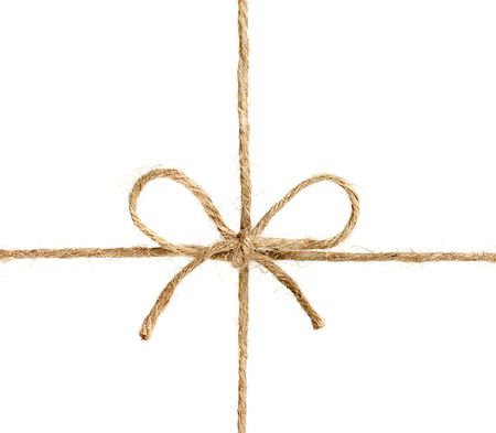 touw of touw gebonden in een boog op een witte achtergrond Stockfoto
