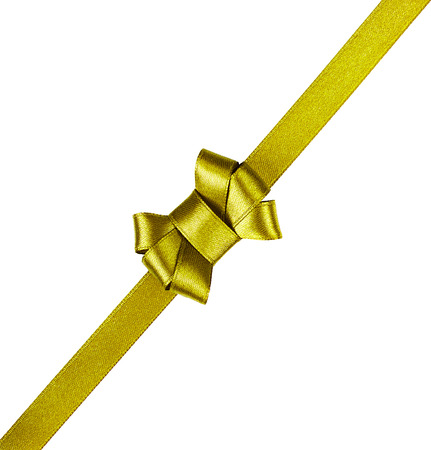 goldish: golden satin ribbon tied in a bow isolated on white background Stock Photo