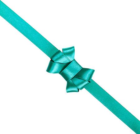 tied in: blue satin ribbon tied in a bow isolated on white background