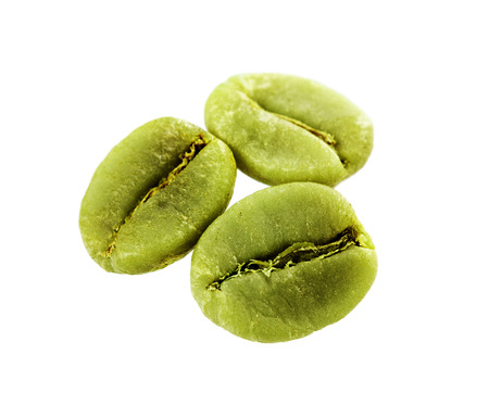 bitter: diet green coffee beans isolated on white background