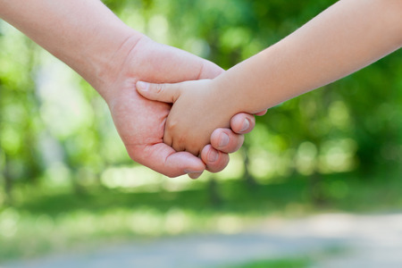 hold hands: Father holds the hand of a little child in sunny park outdoor, united family concept, nature background, shallow dof