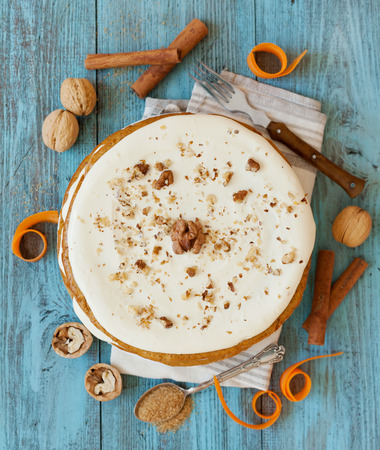 spice cake: Homemade carrot cake whole, top view
