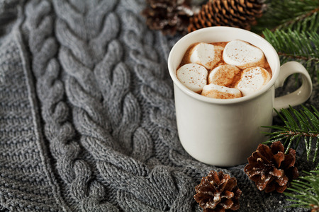 white winter: White cup of fresh hot cocoa or hot chocolate with marshmallows on knitted background, copy space for text Stock Photo
