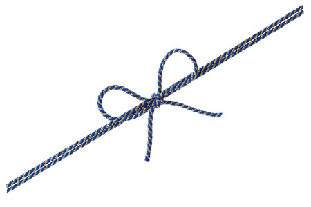 tied in: Blue string or twine tied in a bow isolated on white background for your design