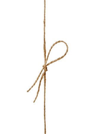 tied in: Closeup string or twine tied in a bow isolated on white background Stock Photo
