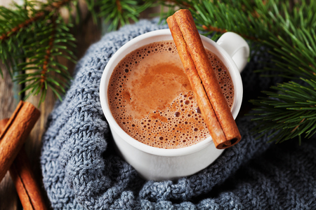 flavours: Cup of hot cocoa or hot chocolate on knitted background with fir tree and cinnamon sticks, traditional beverage for winter time
