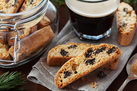 cup coffee: Coffee with biscotti or cantucci on wooden vintage table, traditional Italian biscuit or cookie Stock Photo