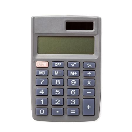 teclado num�rico: Calculadora de bolsillo en el fondo blanco, vista desde arriba
