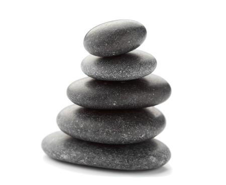 black pebbles: Black pebbles on white background