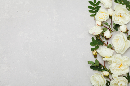 Border of white rose flowers and green leaves on light gray background from above, beautiful floral pattern, vintage color, flat lay styling