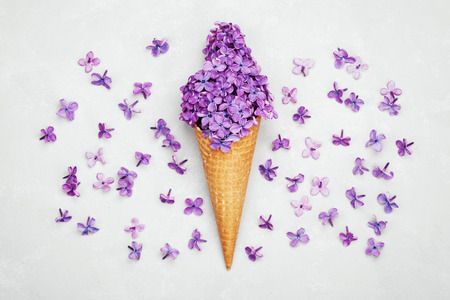 Ice cream of lilac flowers in waffle cone on light gray background from above, beautiful floral arrangement, vintage color, flat lay styling