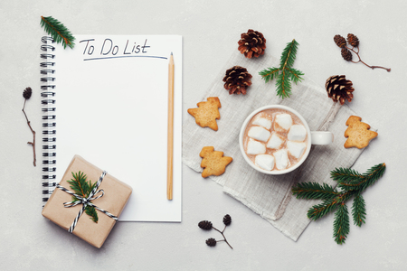 Cup of hot cocoa or chocolate with marshmallow, cookies and notebook with christmas to do list on white table from above. Traditional winter drink. Flat lay.