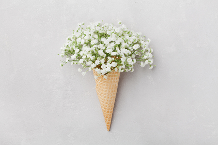 Ice cream of gypsophila flowers in waffle cone on light gray table top view in flat lay style. Stock Photo