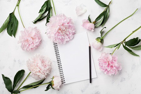 Empty notebook for wedding planning, pencil and pink peony flowers on white stone table top view in flat lay style. Woman working desk. Stockfoto
