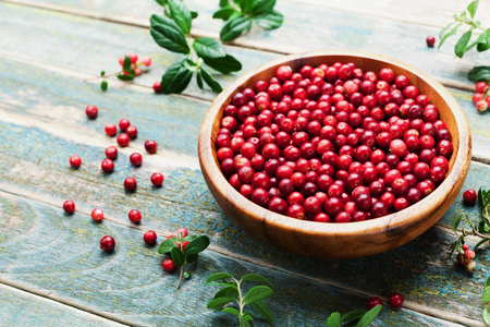 Ripe cowberry (lingonberry, partridgeberry, foxberry) in wooden bowl on rustic vintage background.