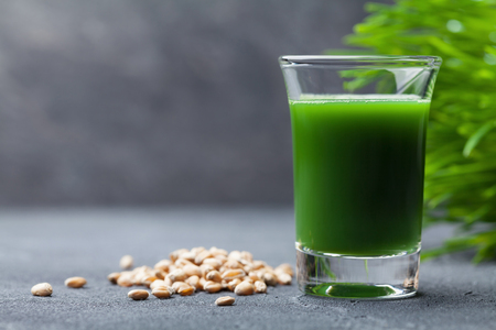 Morning drink from wheat grass juice. Healthy superfood. Detox concept. Stock Photo